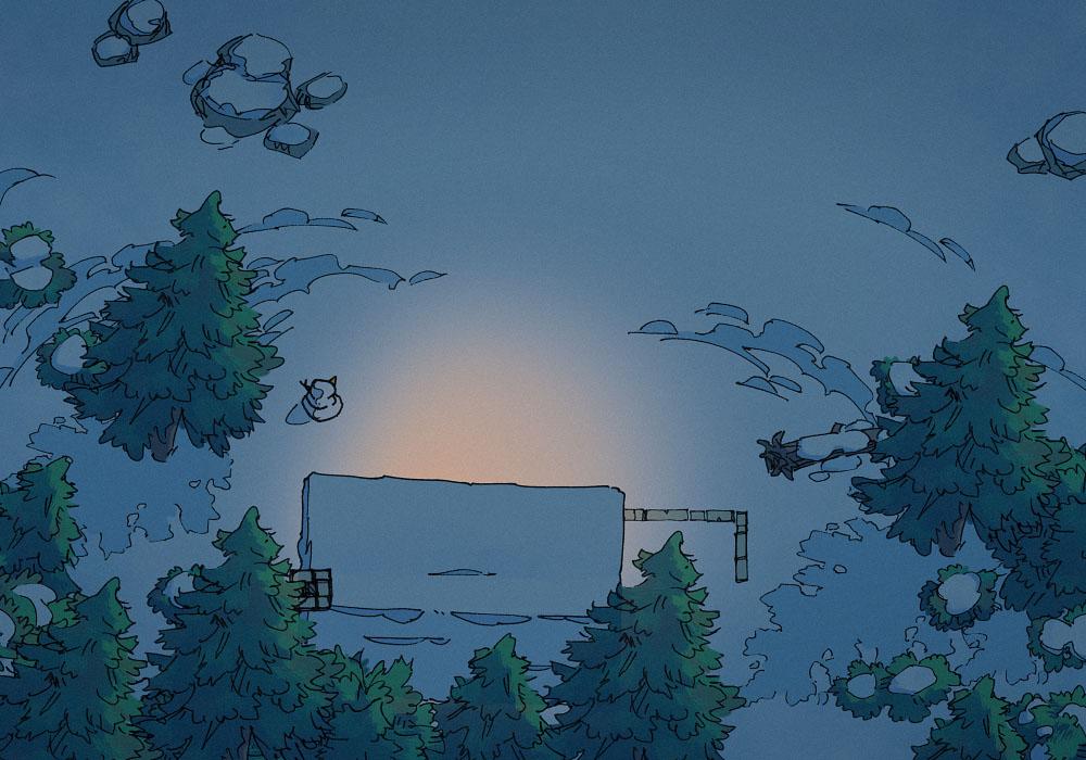 Snowy Hamlet - Night - 22x16