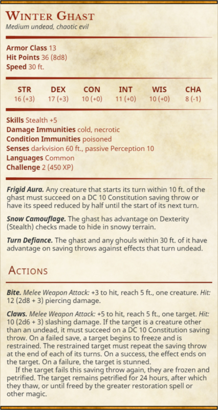 Winter Ghast 5e Stat Block