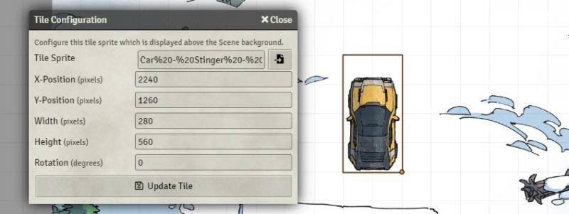 Tile sprite configuration panel