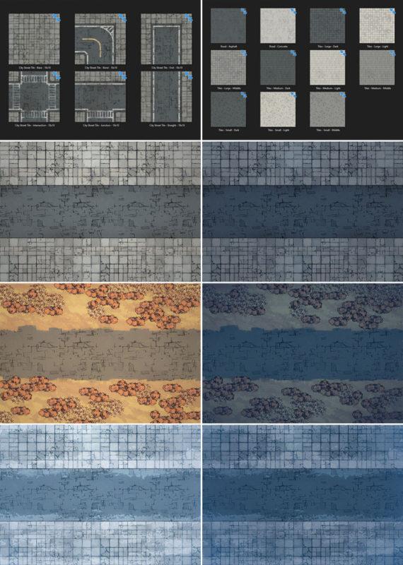 Modern Street map tiles - Detailed variants
