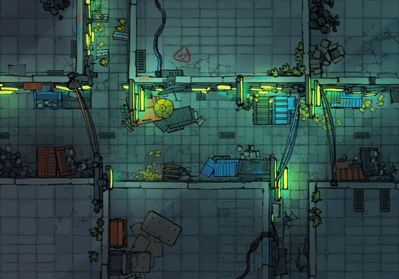 Cyberpunk Scene - Alleyway - Night - 16x22