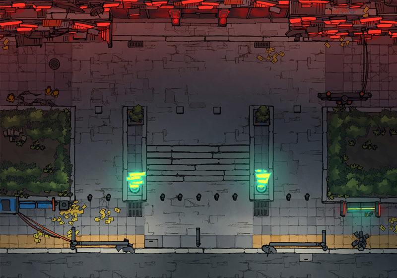 Cyberpunk Scene - Corporate Sector - Night - 22x16