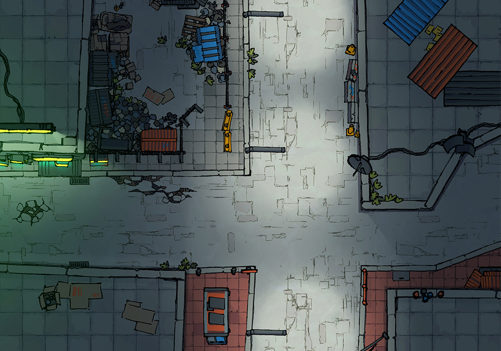 Cyberpunk Scene - Industry Sector - Night - 22x16