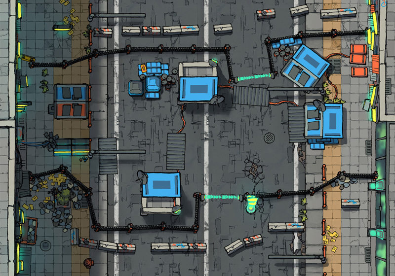 Cyberpunk Scene - Road block - Day - 22x16