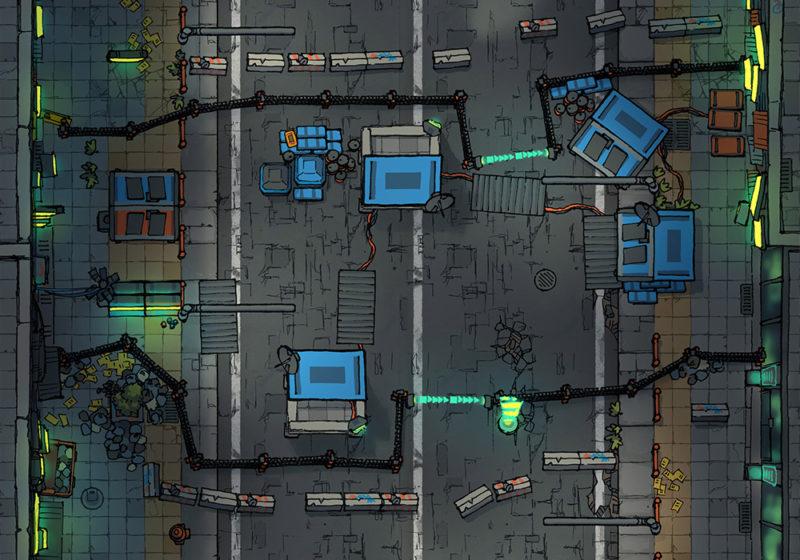 Cyberpunk Scene - Road block - Night - 22x16
