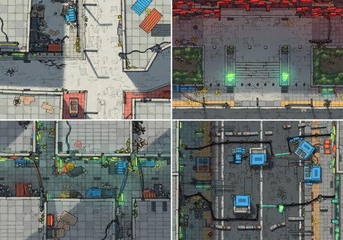 Cyberpunk Scene battle map variants