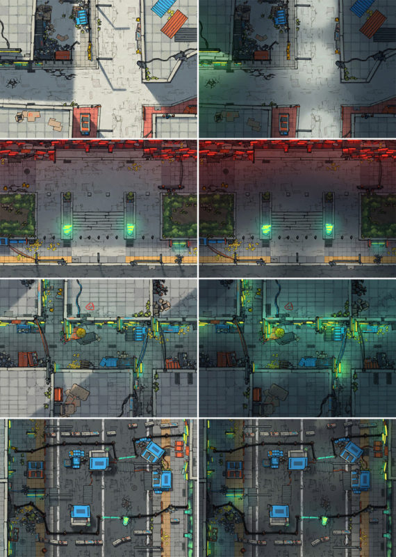 Cyberpunk Scene battle map variants expanded