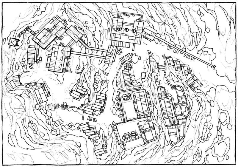 Mining Town - Line art - 16x22