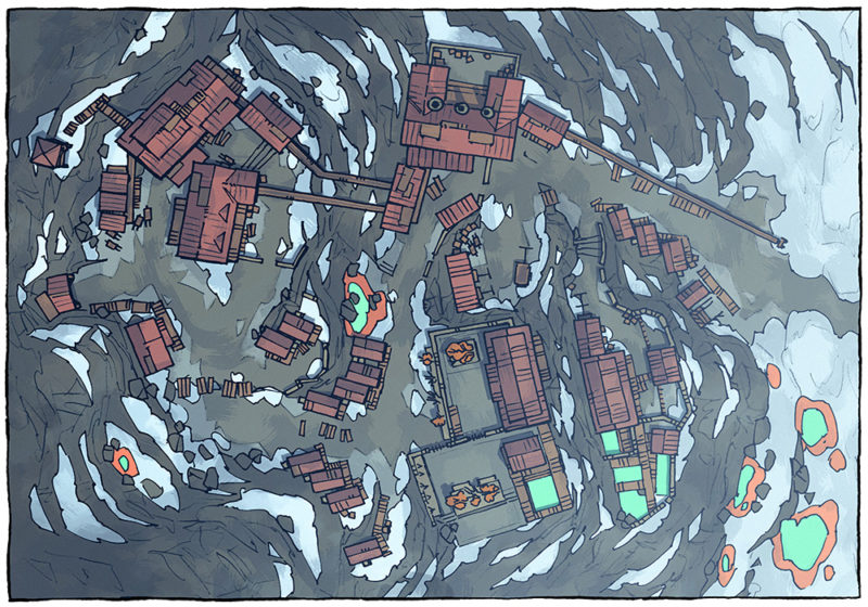 Mining Town - Winter - Day - 16x22