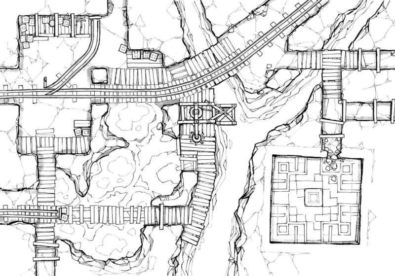 Thermal Mines Pt.2 - Thermal Pools - Line art - 22x16
