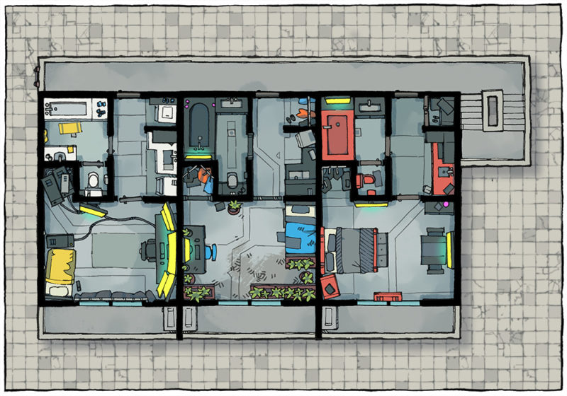 Cyberpunk Apartment battle map - Apartment building preview
