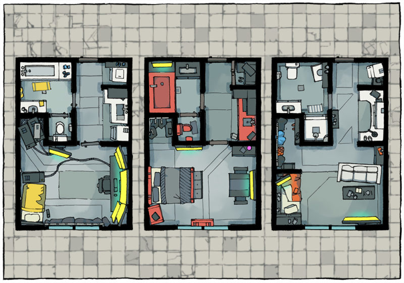 Cyberpunk Apartment battle map - Apartment preview A
