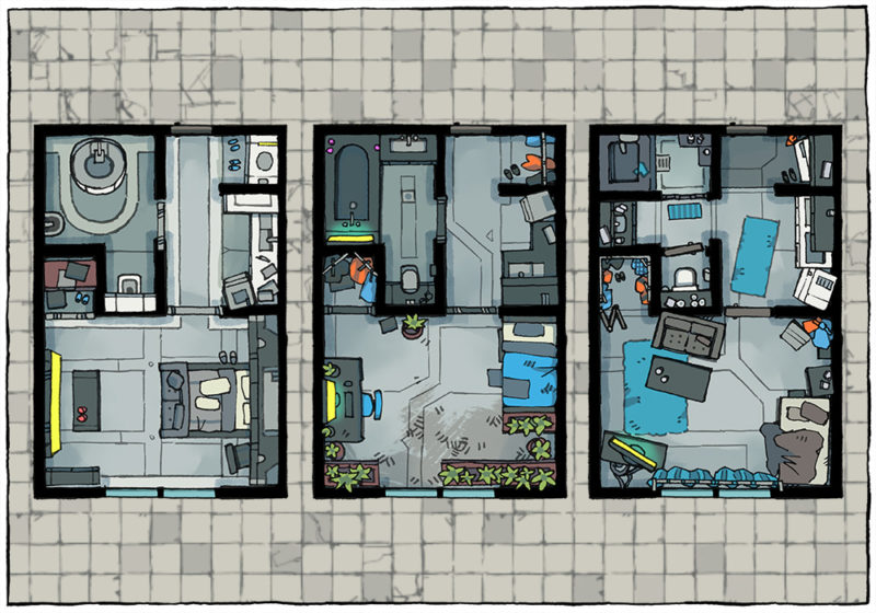 Cyberpunk Apartment battle map - Apartment preview B