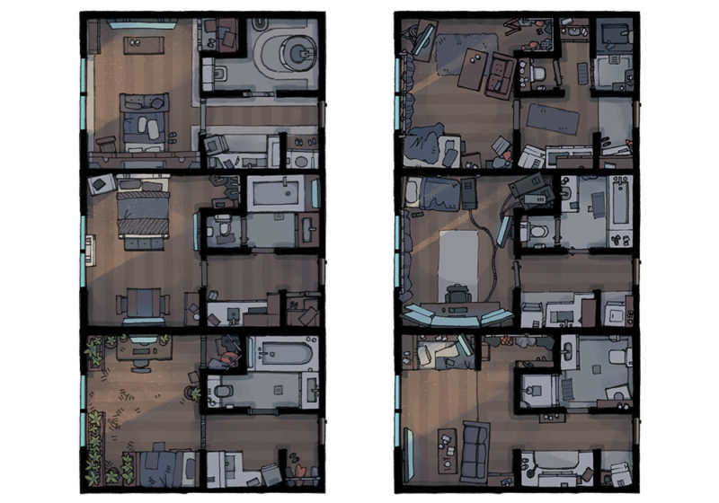 Cyberpunk Apartment battle map - Apartments preview - Apocalypse
