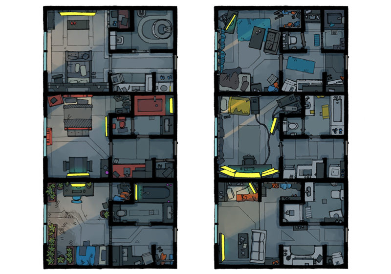 Cyberpunk Apartment battle map - Apartments preview - Dark