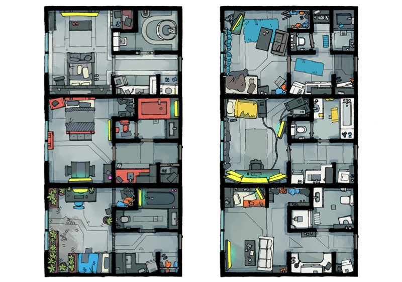 Cyberpunk Apartment battle map - Apartments preview - Light