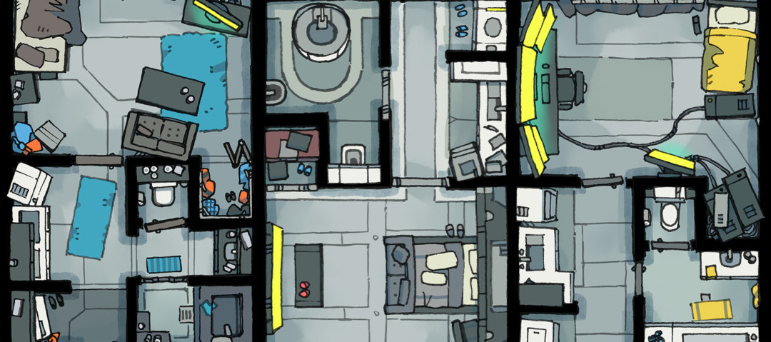 Cyberpunk Apartment battle map - Banner B