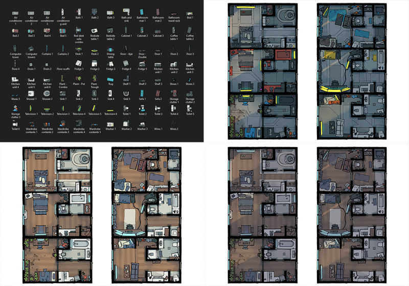 Cyberpunk Apartment battle map - Pack preview