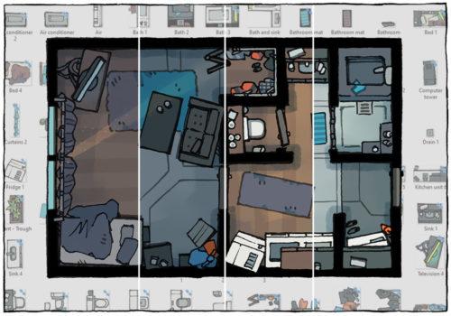 Cyberpunk Apartment battle map - Pack preview B
