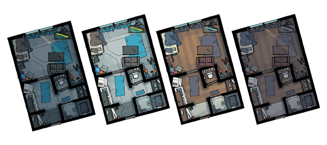 Cyberpunk Apartments battle maps - Temporary variants preview