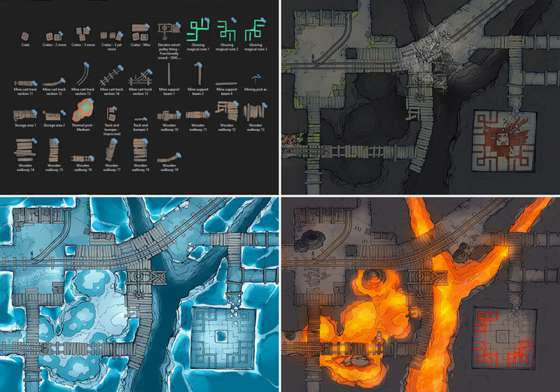 Thermal Mines battle map - Part 2 - Pack contents preview