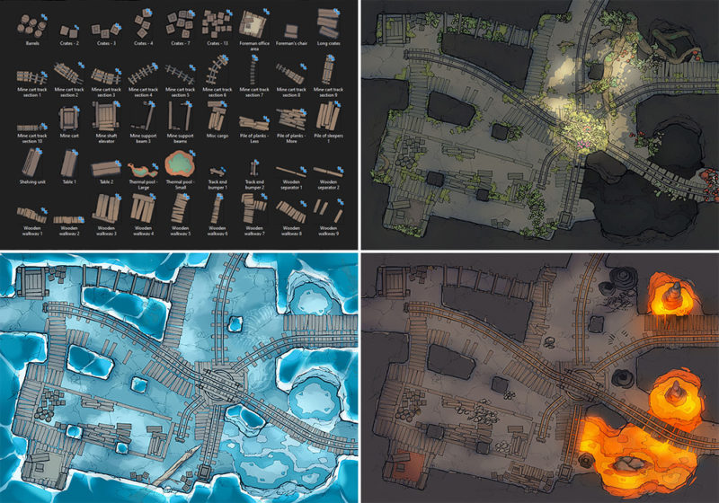 Thermal Mines battle map Pt.1 - Pack preview