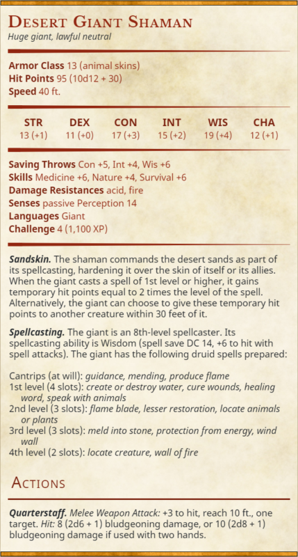 Desert Giant Shaman stat block