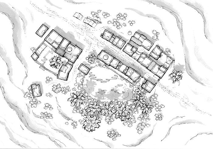 Desert Oasis Town - Black & white
