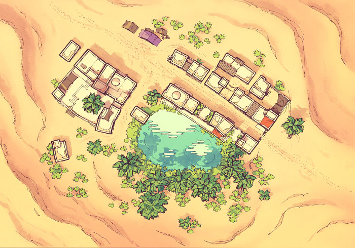 Desert Oasis Town - Clear - Day - 22x16