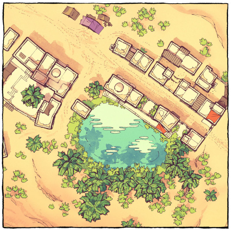 Desert Oasis Town Map - Square preview