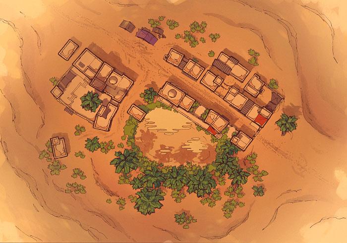 Desert Oasis Town - Sandstorm - Day - 22x16
