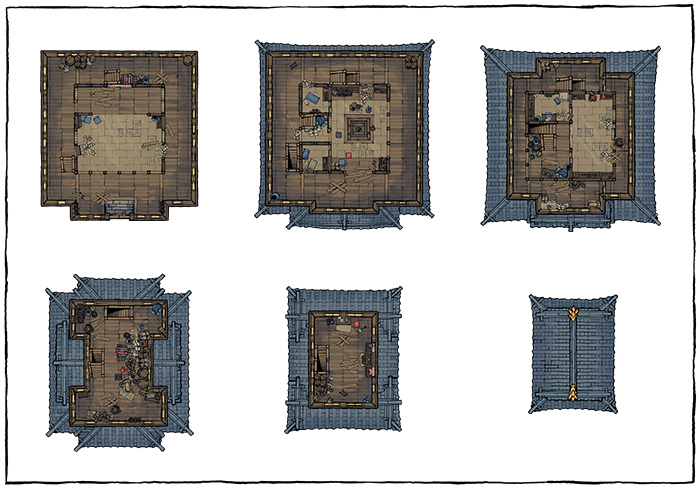 Japanese Castle Oshiro battle map - Abandoned map variant