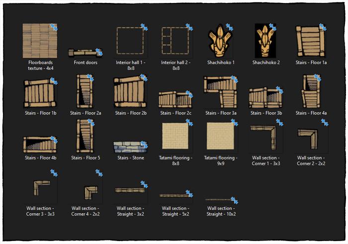 Japanese Castle Oshiro battle map - Bonus map assets