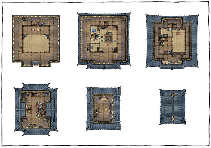 Japanese Castle Oshiro battle map - Furnished map variant