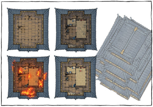 Japanese Castle Oshiro battle map - Map variants