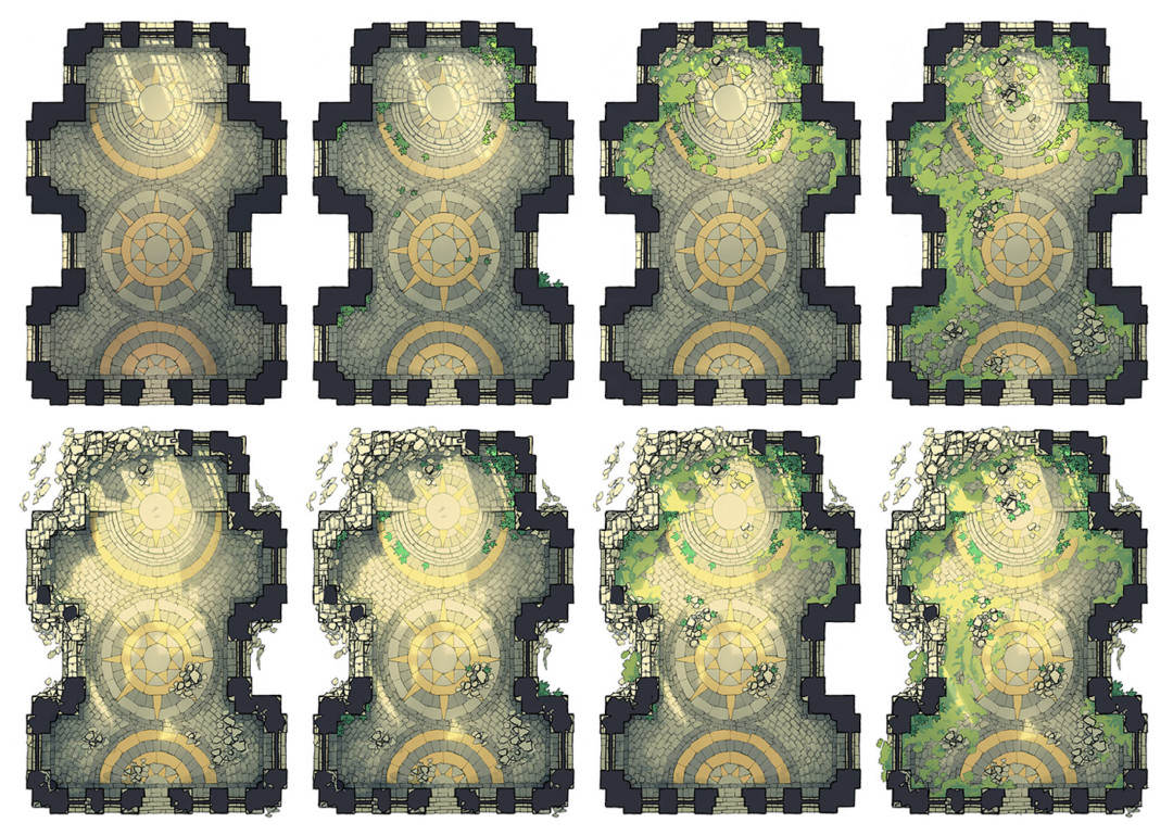 Celestial Temple Battle Map variants