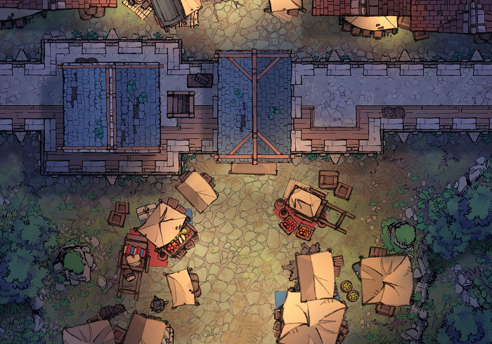 City Gates - Market - Night - 22x16