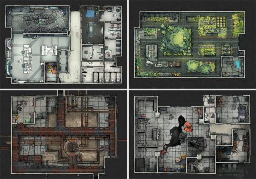 Secret Research Facility battle map variants