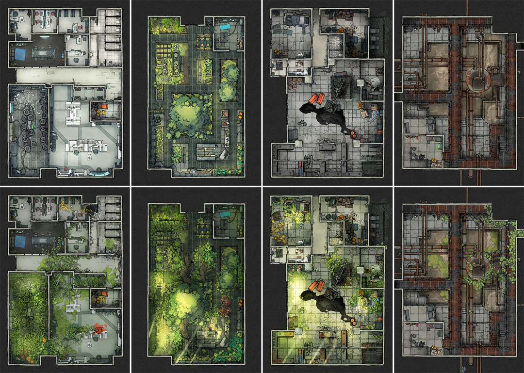 Secret Research Facility battle map variants - extended