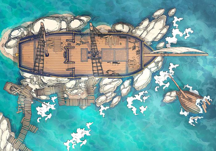 Sailing Chef - Rocky Outcrop - Day - Exterior - 32x22