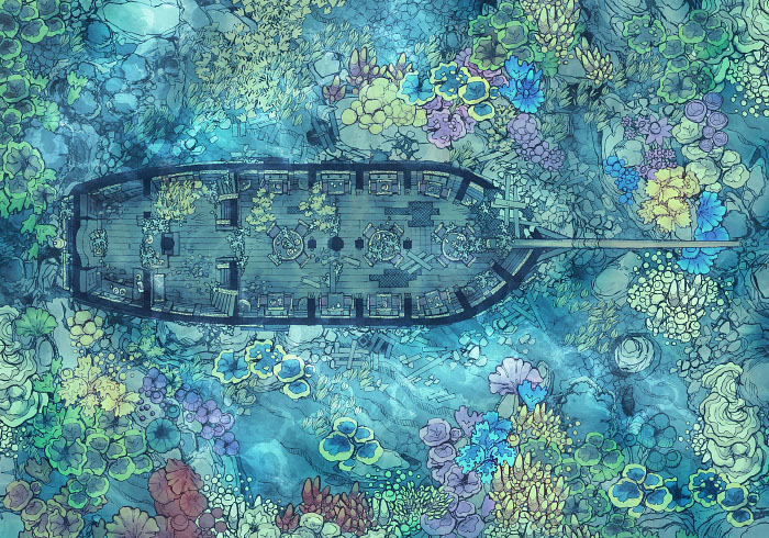 Sailing Chef - Seabed - Reef - Interior - 32x22
