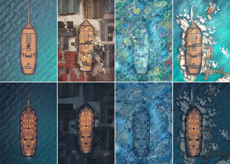 Sailing Chef ship battle map - All variants