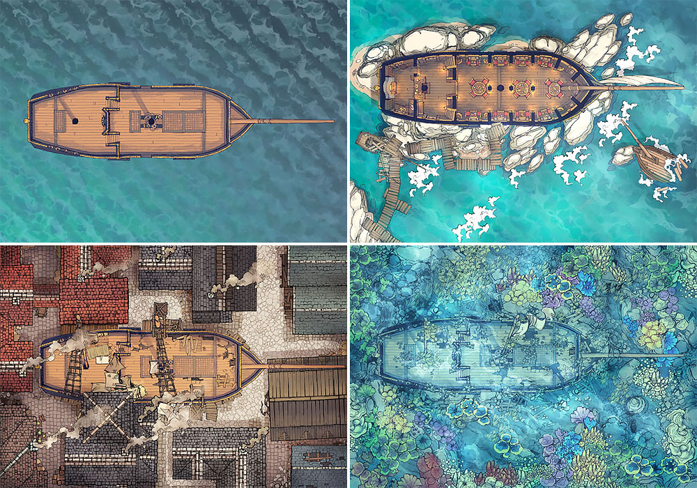Sailing Chef ship battle map - Variants preview