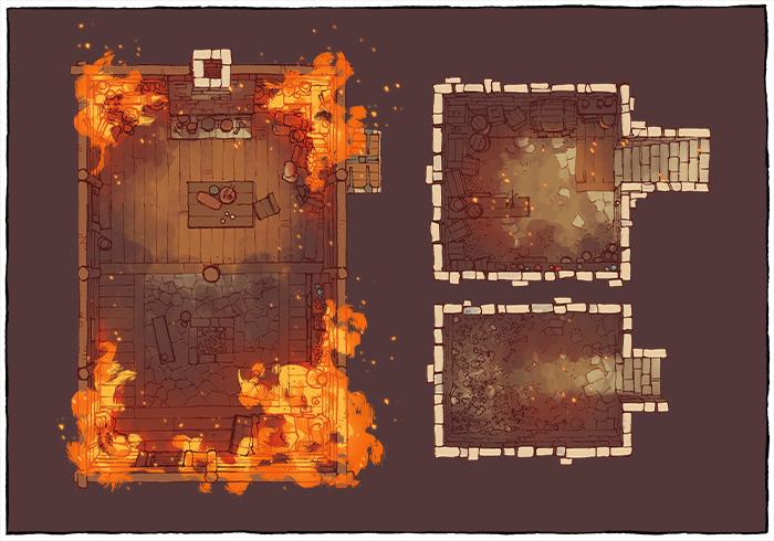 Sinister Cabin battle map - Ablaze variant