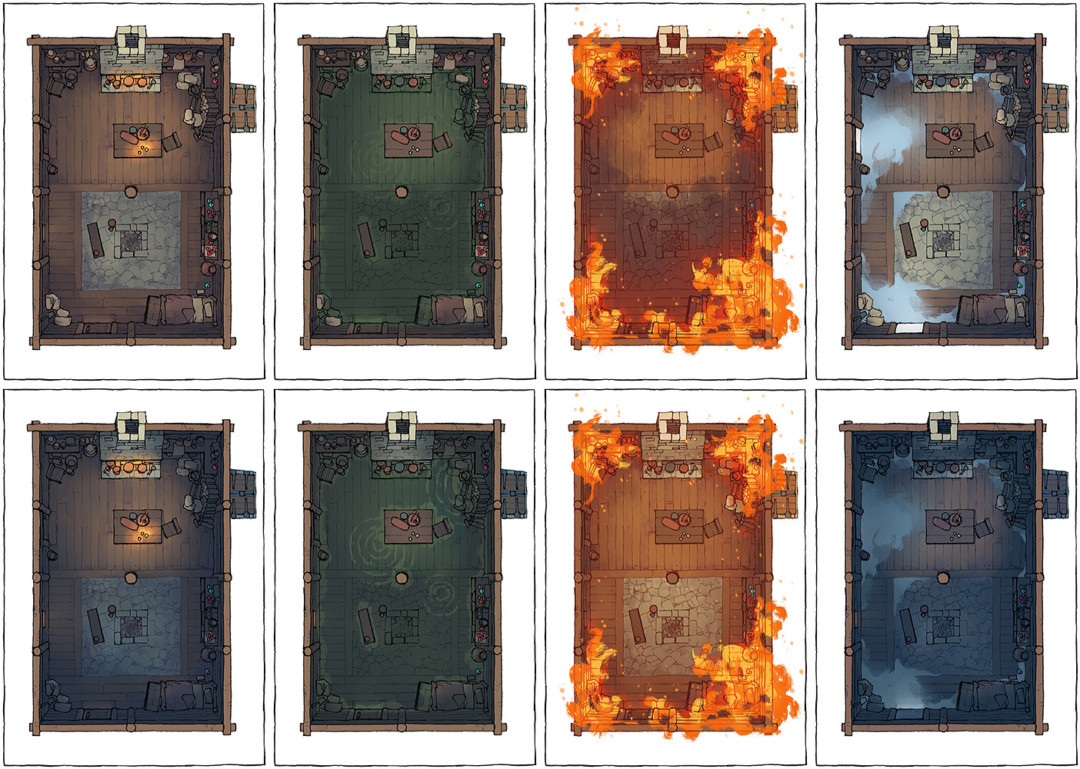 Sinister Cabin battle map - All variants preview
