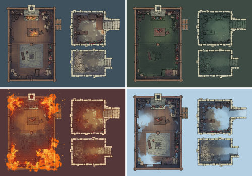 Sinister Cabin battle map - Variants preview