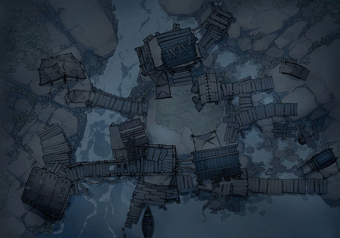Rock Pools - Encampment - Night - 22x16