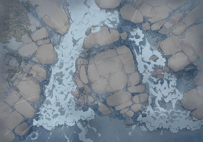 Rock Pools - Rain - Day - 22x16