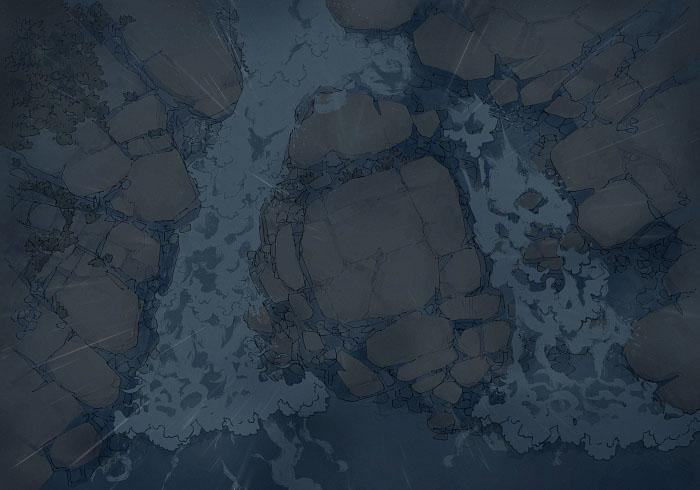 Rock Pools - Rain - Night - 22x16