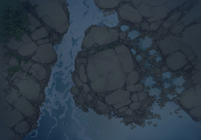 Rock Pools - Secret Beach - Night - 22x16